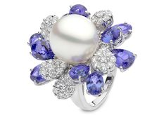 Yoko London 18kt white gold ring with a 14-15mm South Sea pearl and 1.63cts diamonds and 10.25cts tanzanite.
