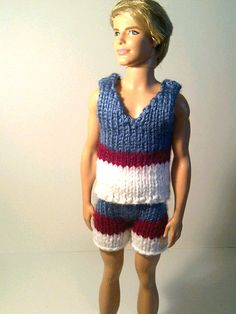 Barbie Clothes - Knitted Tank Top and Shorts for Ken - red white blue via Etsy