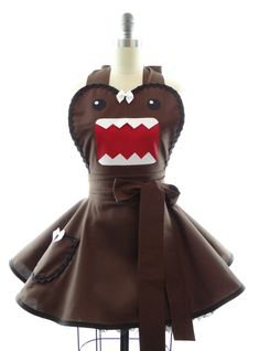 Retro Apron  Brown Monster Womans Aprons  Vintage por bambinoamore
