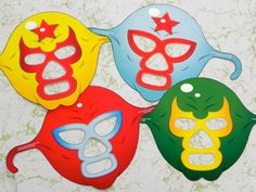 Luchador Masks Party Set by clintprint on Etsy