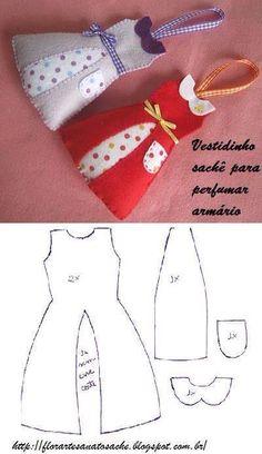 Vestidos de fieltro para perfumar el armario sachets