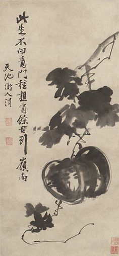 Xu Wei Melon and Vine, China, Ming dynasty Japanese Drawings, Japanese Art, Japanese Painting, Chinese Painting, E Bird, Simple Subject, China Art, Ink Painting, Oriental