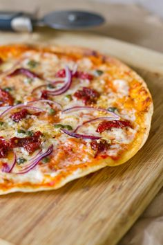 Amazing Mediterranean Tortilla Pizza (I'm eating this right now) :)