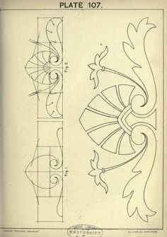 Cusack's Freehand Ornament A Text Book With Chapters On Elements Happy New Year Stencil Art, Stencil Designs, Stencils, Art Nouveau Design, Art Deco, Gravure Metal, Ornament Drawing, Jugendstil Design, Leather Pattern