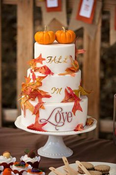 Fall in love cake at a fall wedding party! See more party planning ideas at CatchMyParty.com!
