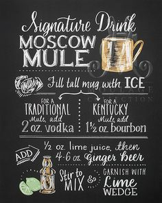 Moscow Mule printable chalkboard style instant by BrushAndArrow Cocktails Bar, Classic Cocktails, Bar Drinks, Cocktail Drinks, Alcoholic Drinks, Moscow Mule Receita, Margarita, Bourbon, Kentucky Mule