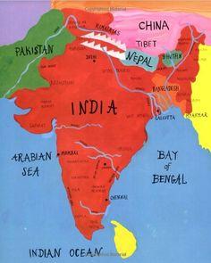 India Political Map: cartoon'ed