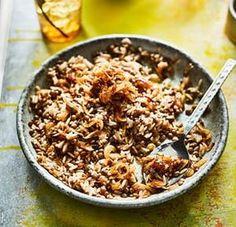 Megadarra – brown lentils and rice.
