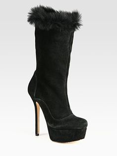 Alice + Olivia Suede and Lamb Fur Mid-Calf Boots