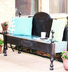 Patio Makeover with a DIY Headboard Bench - The Purple Hydrangea