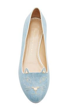 2e8a4206a9dc Charlotte Olympia Kitty Denim Flats Flat Shoes