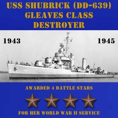 USS Shubrick (DD-639) CLICK ONTO THE PHOTO. POSTERS, APPAREL, & MUGS ARE ALSO AVAILABLE.
