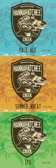 Hannahatchee Creek #beer #ipa #summer #wheat #pale #ale #gator #alligator #crocodile #omaha #brewing #brewery #animal #head #vintage #sketch #retro #logo #label #bottle #brand #blue #green #orange #crest #seal #tree #alcohol