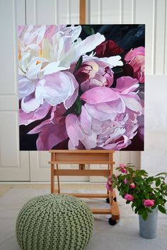SOLD - 101 x 101cm. Deep Edge Canvas (3.5cm) Acrylics with Oil Glaze floral Jenny Fusca painting.