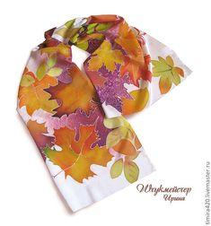 """Купить Батик шарф """"Кленовые листья"""". - Батик, шелк, осень, листва, листья, кленовые листья"""