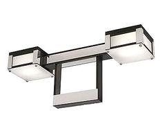 plafn doble con luces en metal y cristal u plata y negro