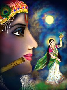 Krishna intoxicating Radha with divine flute under moonlight -::- gorgeous balance of color and shape