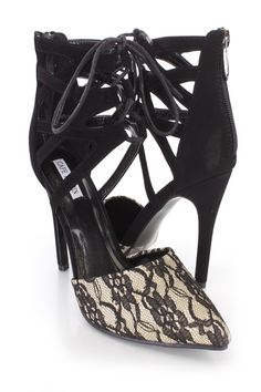 These sexy single sole heels include a fabric upper with a lace overlay, pointed closed toe, scoop vamp, strappy cut out ankle cuff with a lace up tie front design, back zipper closure, smooth lining, and cushioned footbed. Approximately 4 1/2 inch heels.http://www.amiclubwear.com/shoes.html