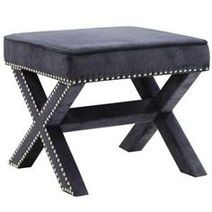 Ottomans Upholstered Ottoman With Nailhead Trim