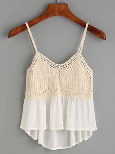 """Beige Crochet Insert Peplum Cami Top """"We are a crochet store, we 've been producing crochet Dress for about 5 years. Here crochet is quality guaranteed. Crochet For Kids, Diy Crochet, Crochet Top, Crochet Bikini Top, Crochet Blouse, Crochet Skirts, Crochet Clothes, Cami Tops, Crochet Projects"""