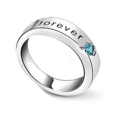 Cubic Zirconia Silver Promise Rings for Girlfriend Custom Engraved