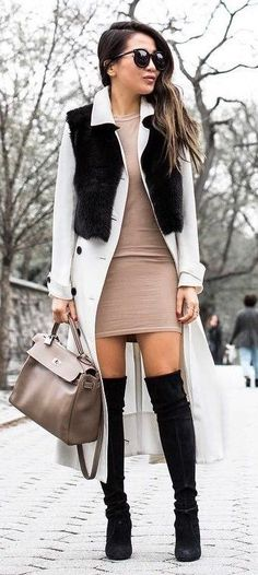 beautiful fall outfit : coat + dress + bag + over the knee boots