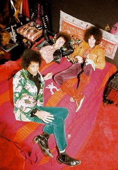 The Jimi Hendrix Experience at their manager's flat off St Martin's Lane, London, 1967.