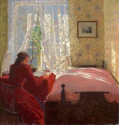 Young woman by the window, Fredrik Kolsto, (1860 -1945)