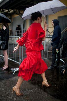 Milan Fashion Week red ruffles dress street style