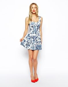 Image 4 of ASOS Skater Dress with Sweetheart Neck and Floral Texture Print