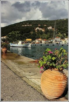 This photo from Lefkada, Ionian Islands is titled 'Sivota'. Greek Islands, Greece, Places To Go, Europe, Autumn, Winter, Plants, Travel, Greek Isles