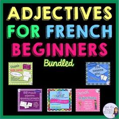 Are you looking for a complete resource to help you teach, reinforce, and assess French adjectives? This BUNDLE includes two speaking activities, task cards, and notes and practice for adjective formation of colors. You save 20% by buying the bundle!These are for true beginners, so please note that the directions are in English.You will get:1.