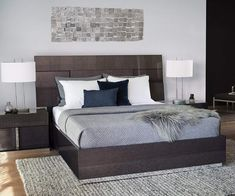 Elegant, bold lines and fine craftsmanship define the Mondiana platform bed. Showcasing grey koto veneer with a high gloss finish that reflects light and adds depth, this piece is sure to be the focal point of any bedroom. Bedroom Wall, Bedroom Furniture, Bedroom Decor, Bedroom Ideas, Master Bedroom, Bedroom Green, Kids Bedroom, Bedroom Curtains, Bedroom Wardrobe