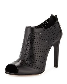 X2FL2 Prada Leather Perforated Peep-Toe Bootie, Nero