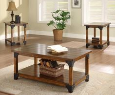 How about a coffee table with matching end tables that make a statement?  Flattering for any home and style!