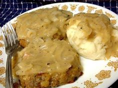 Turkey And Dressing Patties With Gravy For 2 | I had some leftover turkey, dressing, and gravy and didn't want the same old boring leftovers. So,I came up with this.
