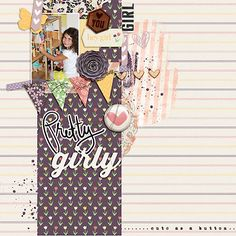 DIgital Scrapbooking page using Girly Kit by Just Jaimee and Dawn by Design.  LO created by Courtney Mervine