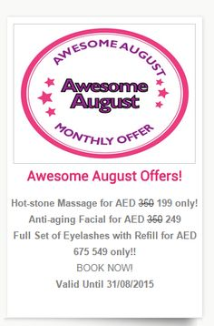 Don't miss out on our special offers for August. we're giving you even more reasons to visit our website with our selection of special offers available at selected places.