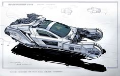 Blade runner lapd vehicle concept by george hull Blade Runner Car, Blade Runner 2049, Hover Car, Syd Mead, Futuristic Cars, Futuristic Vehicles, Flying Car, Ship Art, Car Photos