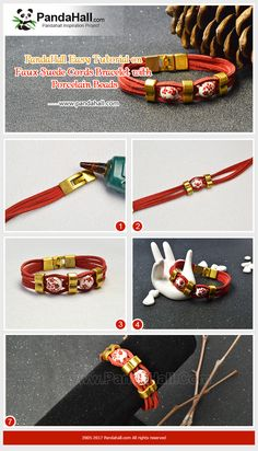 Faux Suede Cords Bracelet with Porcelain Beads Flower printed porcelain beads have received lots of popularity by jewelry designers. Today we teach you have to make an easy faux suede cords bracelet with porcelain beads. #pandahall #freetutorial #howto #leathercord #porcelainbeads #braceletdiy #handmadejewelry