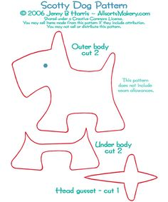 Pattern I used to make stuffed puppy. Found it free online at allsorts.com