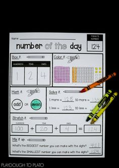 EDITABLE Number of the Day Sheet - Playdough To Plato