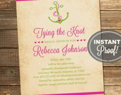Nautical Bridal Shower Invitation, Tying the Knot, Anchor, Pink, Magenta, Lime Green, Destination, Printable File (Custom, INSTANT DOWNLOAD)