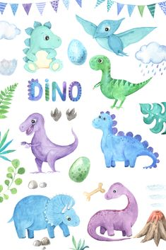 This collection of Watercolor Dinosaurs includes cute little and big dino Tricer. - This collection of Watercolor Dinosaurs includes cute little and big dino Triceratops, Diplodocus, - Dinosaur Nursery, Dinosaur Art, Cute Dinosaur, The Good Dinosaur, Dinosaur Birthday, Illustration Design Graphique, Hand Illustration, Cute Drawings, Animal Drawings