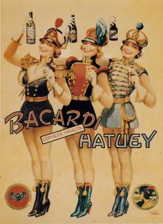 1949: Lillo Collection / Three Girls - advertisement for bacardi rum