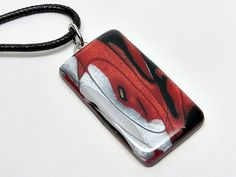 Red silver and black necklace polymer clay by AquascentCreations Polymer Clay Necklace, Resin Necklace, Black Necklace, Dishwashing Liquid, Geometric Necklace, Unique Necklaces, Sunglasses Case, Take That, Silver