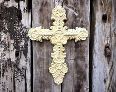 Vintage Heavy Cast Iron Cross Wall Hanging, Metal Crucifix, Rustic Southwestern Home Interior