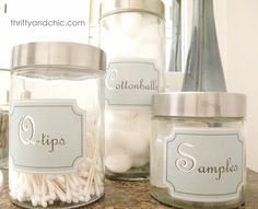 Free printable. (My favorite two words.)  Bathroom and kitchen labels.