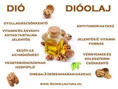 Dióolaj, szűz dió-étolaj, BioWell Health Benefits, Health Tips, Alternative Therapies, Doterra, Eating Well, Vitamins, Herbs, Medical, Foods