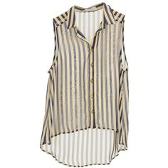 Beige/Navy Patriot Stripe Sheer Sleeveless Blouse | $11.50 | Cheap... ($12) ❤ liked on Polyvore featuring tops, blouses, shirts, tank tops, sleeveless blouse, striped blouse, navy striped shirt, sleeveless shirts and navy blouse